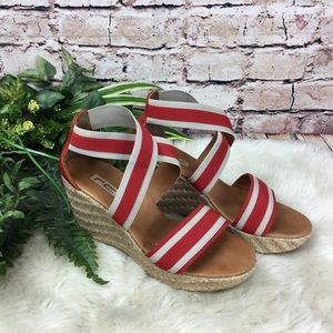 Paul Green Red Striped Espadrille Wedge